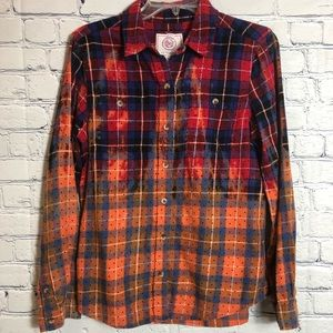 SO plaid ombré bleached button down large.
